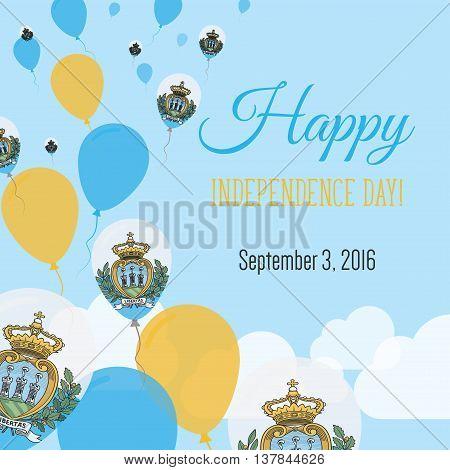 Independence Day Flat Greeting Card. San Marino Independence Day. Sammarinese Flag Balloons Patrioti
