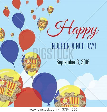 Independence Day Flat Greeting Card. Andorra Independence Day. Andorran Flag Balloons Patriotic Post