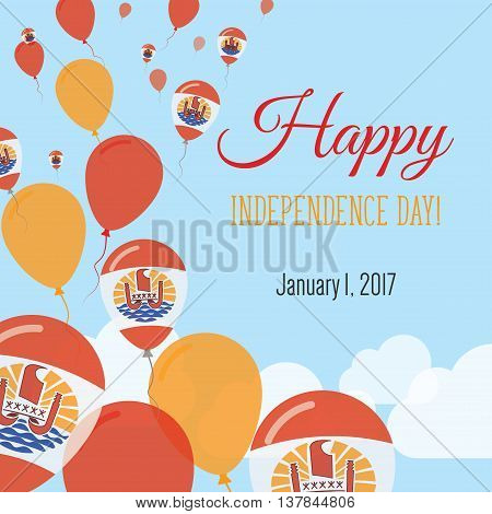 Independence Day Flat Greeting Card. French Polynesia Independence Day. French Polynesian Flag Ballo