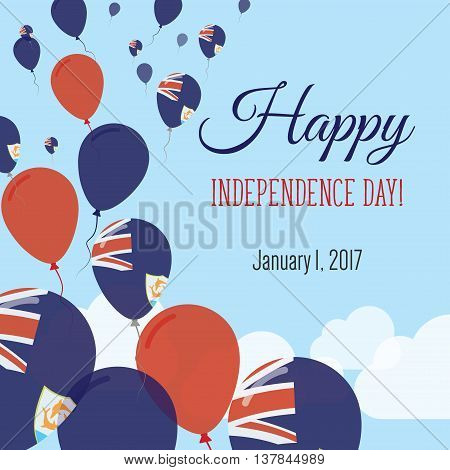 Independence Day Flat Greeting Card. Anguilla Independence Day. Anguillian Flag Balloons Patriotic P