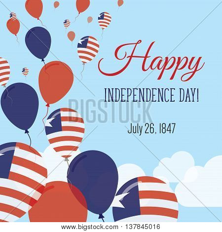 Independence Day Flat Greeting Card. Liberia Independence Day. Liberian Flag Balloons Patriotic Post