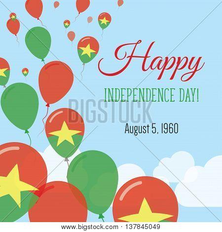 Independence Day Flat Greeting Card. Burkina Faso Independence Day. Burkinabe Flag Balloons Patrioti