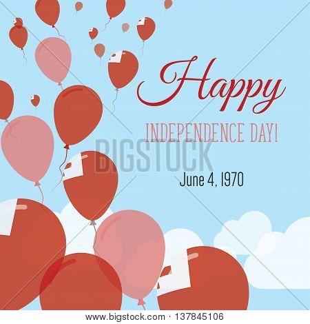 Independence Day Flat Greeting Card. Tonga Independence Day. Tongan Flag Balloons Patriotic Poster.