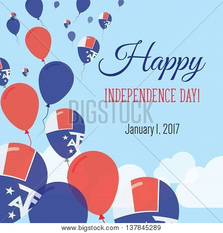 Independence Day Flat Greeting Card. French Southern Territories Independence Day. French Flag Ballo