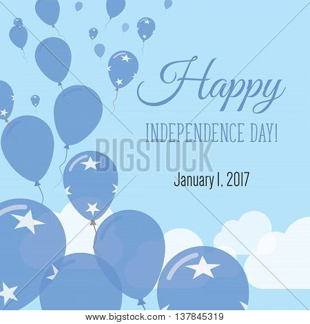 Independence Day Flat Greeting Card. Micronesia, Federated States Of Independence Day. Micronesian F
