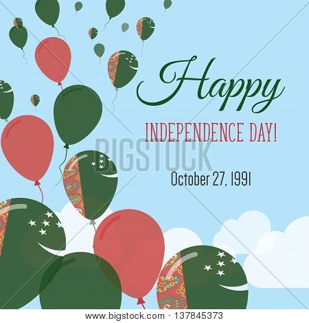 Independence Day Flat Greeting Card. Turkmenistan Independence Day. Turkmen Flag Balloons Patriotic