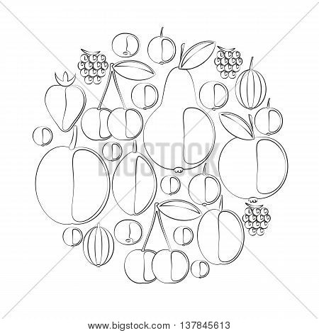 Vector silhouettes of berries and fruits. Icons on the food theme. Grouped for easy editing. In a gallery also Set of vector silhouettes of fruits and Set of vector silhouettes of berries.