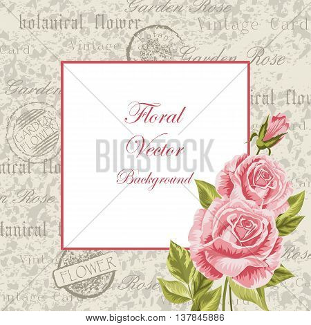 Vector illustration of a beautiful vintage frame with flowers for invitations and birthday cards.