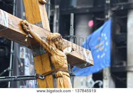 KIEV, UKRAINE - APR 19, 2014:Crucifixion of Ukraine.Burned downtown of Kiev.Rioters camp. Putsch of junta in Kiev.April 19, 2014 Kiev, Ukraine
