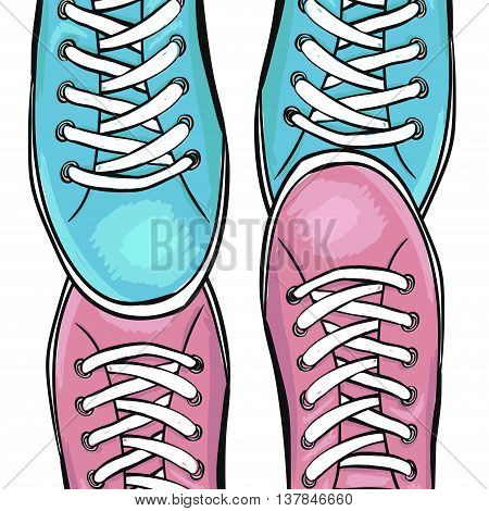 Summer trendy sports shoes. Feet in sports shoes sneakers. In love with sneakers. Vector illustration