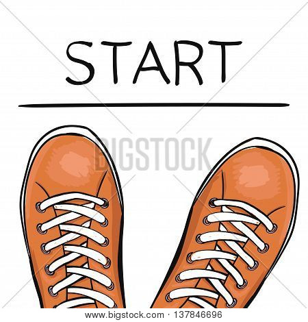 Summer trendy sports shoes. Foot in the sports Shoe sneakers before the feature start. Vector illustration