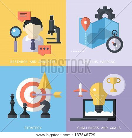 Website services concept such as research analysis systems mapping strategy challenges and goals with flat modern icons