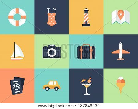 Flat modern icons for summer holiday vacation concept. Elements for graphic and web design