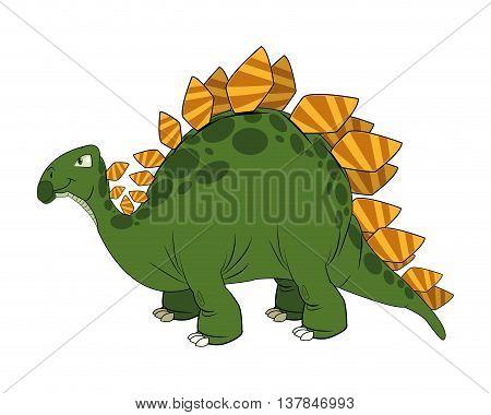 cute cartoon dinosaur comic isolated vector illustration