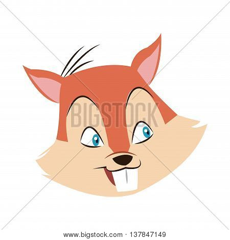 chipmunk nut cartoon icon isolated vector illustration