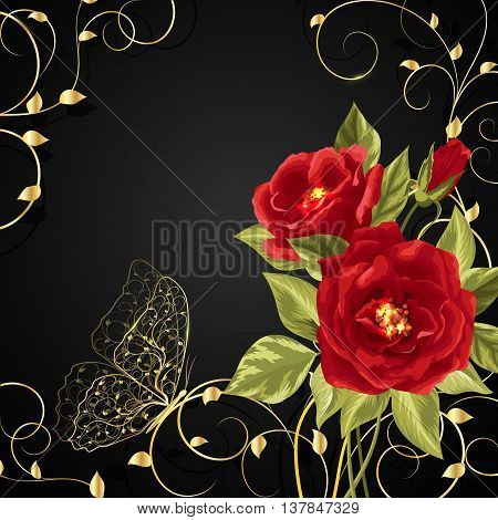 Beautiful bouquet of red roses with gold buttetfly sitting on twine plant. Vector illustration on black background.