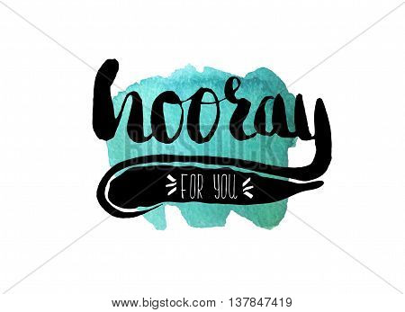 Colorful illustration style drawn hand with watercolor stains. Sweetheart lettering picture with congratulations. Vector illustration