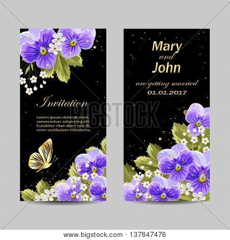 Set of wedding invitation cards design. Beautiful pansy flowers on dark background. Vector illustration.