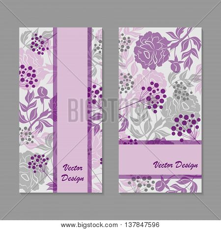 Set of vertical banners. Vloral vector background with colored peonies and berries.