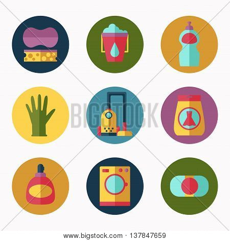 Flat household cleaning icons vector collection soap and other tools