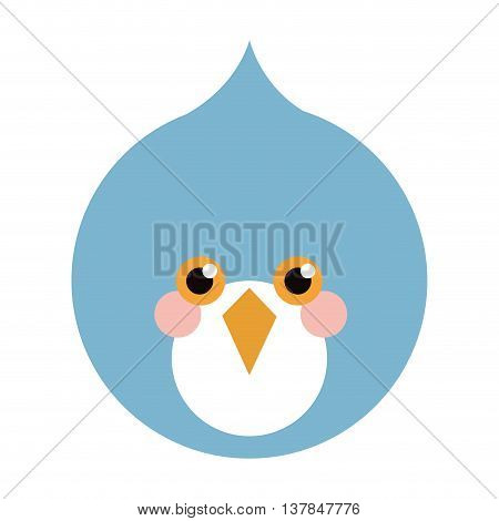 blue bird flat icon isolated vector illustration