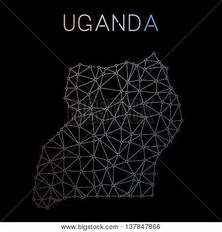Uganda Network Map. Abstract Polygonal Map Design. Network Connections Vector Illustration.