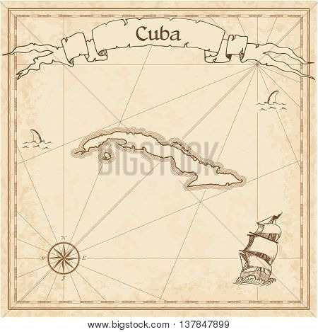Cuba Old Treasure Map. Sepia Engraved Template Of Pirate Map. Stylized Pirate Map On Vintage Paper.