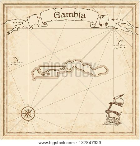 Gambia Old Treasure Map. Sepia Engraved Template Of Pirate Map. Stylized Pirate Map On Vintage Paper