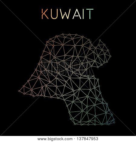Kuwait Network Map. Abstract Polygonal Map Design. Network Connections Vector Illustration.
