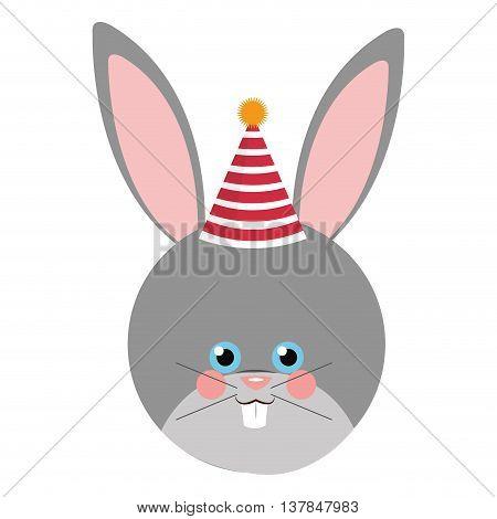 Cute rabbit flat icon isolated vector illustration