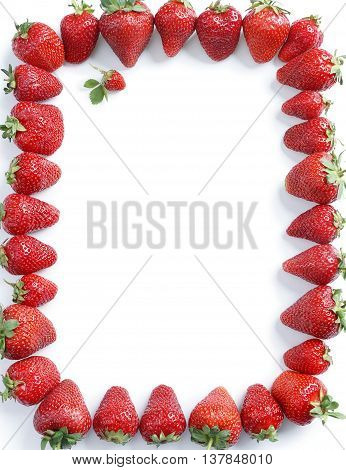Fram from strawberry on white background. Copy space. Top view high resolution product.
