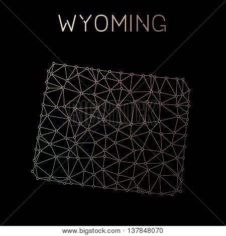 Wyoming Network Map. Abstract Polygonal Us State Map Design. Network Connections Vector Illustration