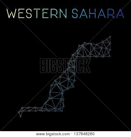 Western Sahara Network Map. Abstract Polygonal Map Design. Network Connections Vector Illustration.