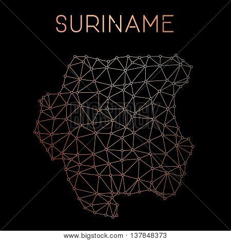 Suriname Network Map. Abstract Polygonal Map Design. Network Connections Vector Illustration.