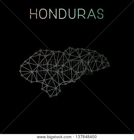 Honduras Network Map. Abstract Polygonal Map Design. Network Connections Vector Illustration.