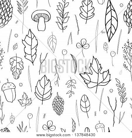 Vector seamless pattern with leaf, berries, blades of grass, autumn elements and templates. black and white background. autumn hipster background. Bright pattern. Autumn template.