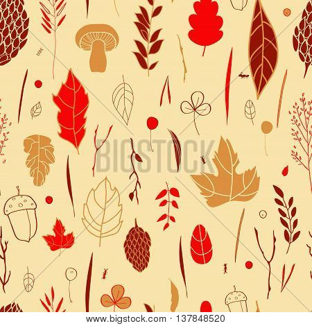 Vector seamless pattern with leaf, berries, blades of grass, autumn elements and templates. ocher, red, brown background. autumn hipster background. Bright pattern. Autumn template.
