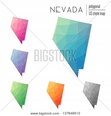 Set Of Vector Polygonal Nevada Maps. Bright Gradient Map Of The Us State In Low Poly Style. Multicol