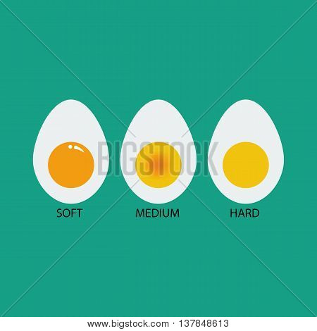 Egg cooking degree. Soft egg. Medium egg. Hard egg. Boiled eggs. Vector illustration