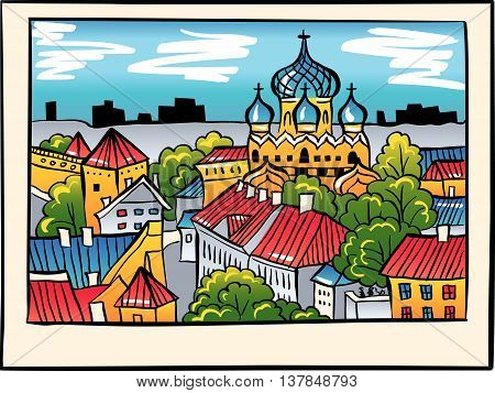 Toompea hill with fortress wall, tower and Russian Orthodox Alexander Nevsky Cathedral, view from the tower of St. Olaf church, in sketch style, Tallinn, Estonia