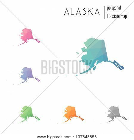 Set Of Vector Polygonal Alaska Maps. Bright Gradient Map Of The Us State In Low Poly Style. Multicol