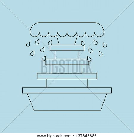 Fountain illustration path on the blue background. Vector illustration