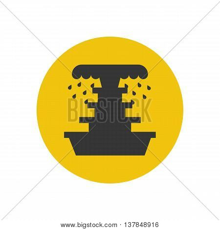 Fountain illustration silhouette on the yellow background. Vector illustration