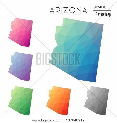 Set Of Vector Polygonal Arizona Maps. Bright Gradient Map Of The Us State In Low Poly Style. Multico