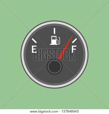 Fuel sensor illustration on the green background. Vector illustration