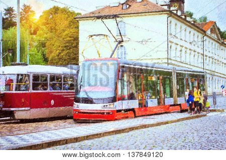 High-tech trams on wide street in district Mala Strana Prague's old town Prague Czech Republic. Photo stylized illustration