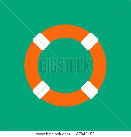 Lifebuoy vector illustration on the green background. Vector illustration