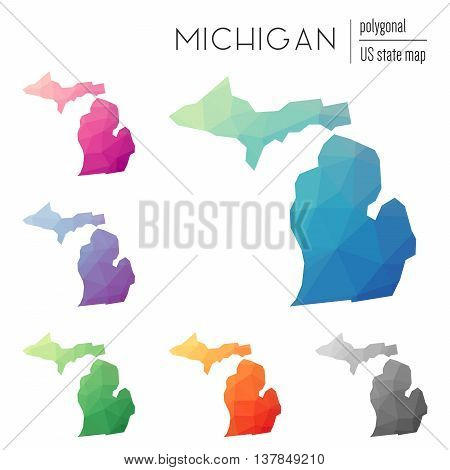 Set Of Vector Polygonal Michigan Maps. Bright Gradient Map Of The Us State In Low Poly Style. Multic