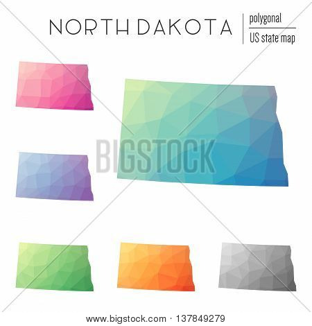 Set Of Vector Polygonal North Dakota Maps. Bright Gradient Map Of The Us State In Low Poly Style. Mu