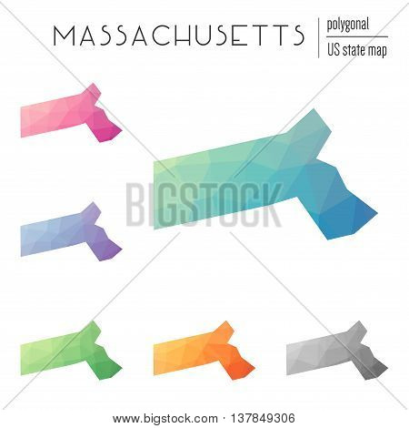 Set Of Vector Polygonal Massachusetts Maps. Bright Gradient Map Of The Us State In Low Poly Style. M